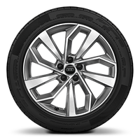 "19"" alloy wheels in 5-double-arm design, contrasting grey, partly polished with 235/55 tyres"