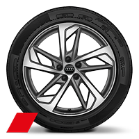 Alloy wheels, 5-arm trapezoidal style, Matte Titanium Gray, diamond-turned, 8.5Jx19,255/45 R19 tires,Audi Sport GmbH