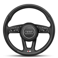 Leather-wrapped steering wheel, 3-spoke, with multi-function Plus