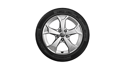 Complete winter wheel in 5-arm serra design, brilliant silver, 6.5 J x 17, 215/65 R 17 99H