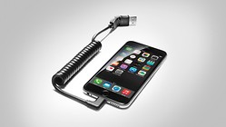 USB adapter, for mobile telephones with an Apple Lightning socket, angled