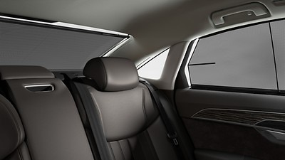 Power-operated roll-up sunshade for rear window and for rear side windows