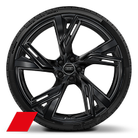 Alloy wheels, 5-V-spoke trapezoidal style, Black, 10.5J x 22, 285/30 R22 tires