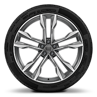 Cast alloy wheels, 5-double-spoke V-style (S style), Contrast Gray, partly polished, 10J x 22