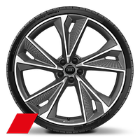 Alloy wheels, 5-V-spoke structure, Matte Titanium Gray, diamond-turned, 10.5J x 22, 285/30 R22 tires