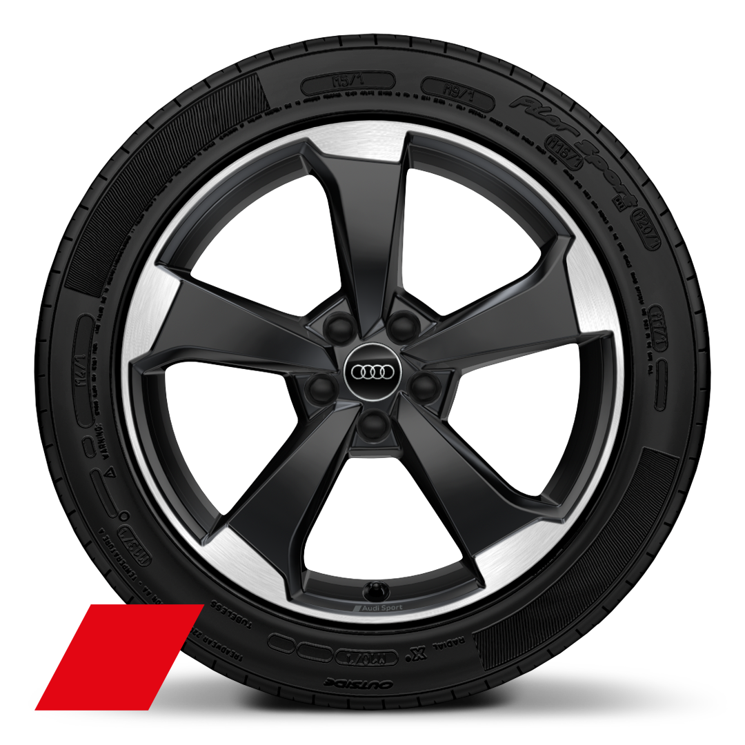 "19"" x 8.0J '5-arm rotor' design alloy wheels in gloss anthracite black, diamond cut finish with 235/40 R19 tyres"