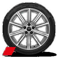 Leichtmetallräder, 10-Speichen-Stern-Design, platingrau, glanzgedreht, 9 J x 19, Reifen 245/35 R 19, Audi Sport GmbH