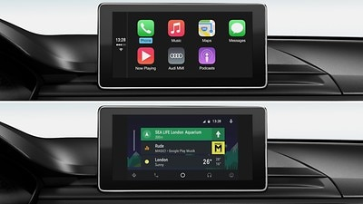 Audi smartphone interface (Optional). Please check with the dealer for installation.