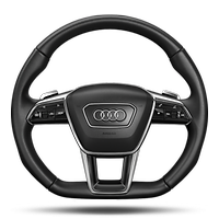 Sport contour leather steering wheel with multifunction and shift paddles, flattened at the bottom