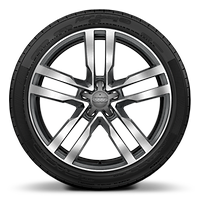 "19"" x 9J '5-arm star style' partly polished forged alloy wheel with 245/35 R19 tyres"