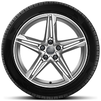 Cast aluminium alloy wheels, 5-twin-spoke star design, size 8.5 J x 18, with 245/40 R 18 tyres
