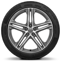 "20"" x 8.0J 5-twin-spoke star design contrasting grey, diamond cut finish alloy wheels with 255/45 R20 tyres"