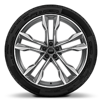 Forged alloy wheels, 5-double-spoke V-style, Contrast Gray, partly polished, 10J x 22 with 285/40 R22 tires