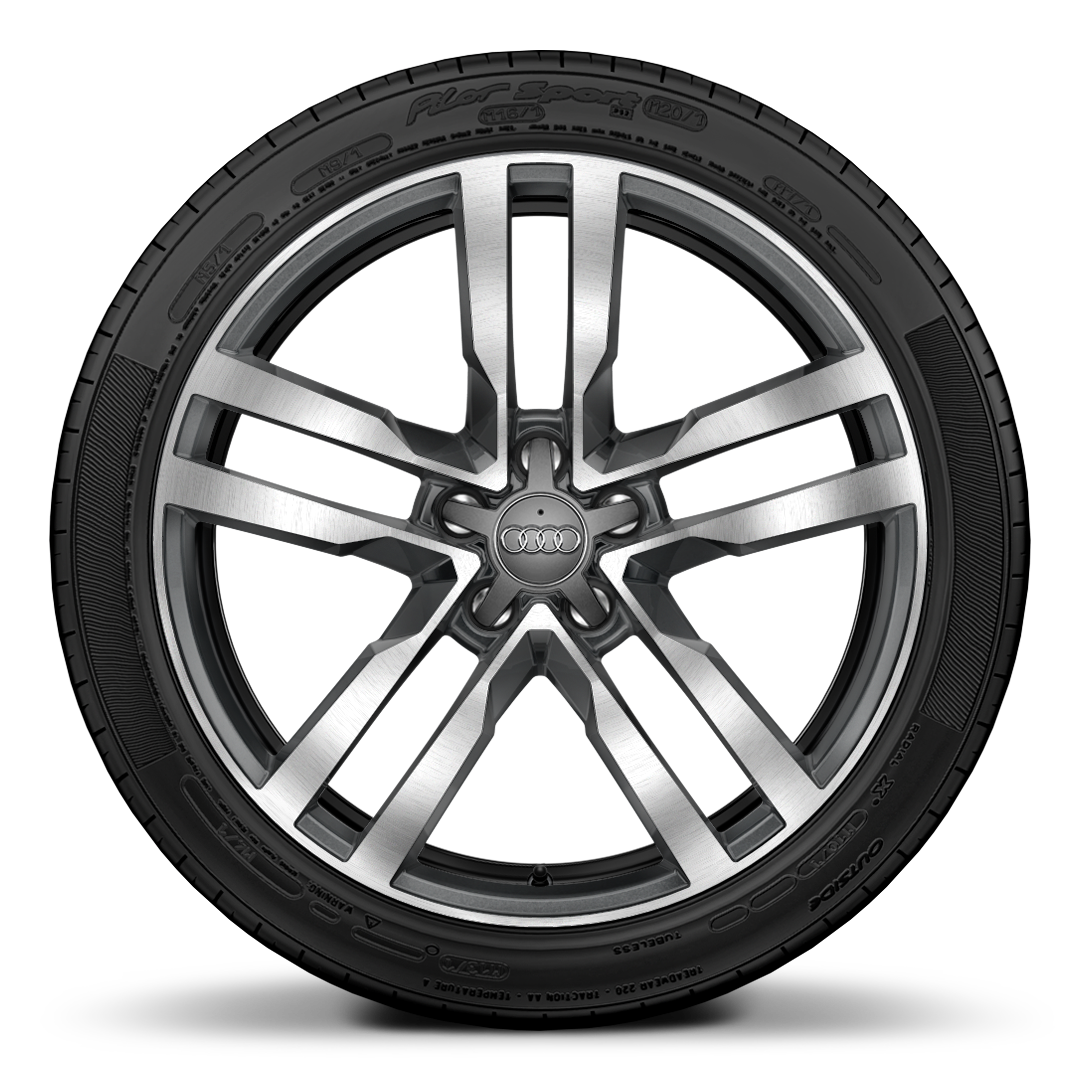 "19"" x 9J 5-arm star style, partly polished forged alloy wheel with 245/35 R19 tyres"