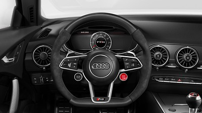 RS leather-wrapped sports steering wheel with multifunction Plus and 2 control satellites