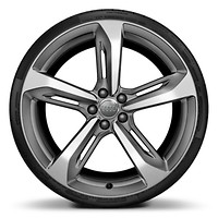 "21"" 5-Spoke Blade design wheels with Matte Titanium  finish, size 9J x 21, with 275/30 performance tires"