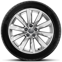 Cast alloy wheels, 10-spoke dynamic style, 8J x 18 with 245/40 R18 tires
