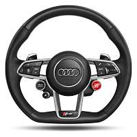 R8 3-spoke, flat bottomed, multi-functional, perforated performance leather steering wheel with 3 operating satellites