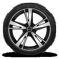 19寸铸造铝合金轮毂, 5辐刀锋设计, 黑色高光