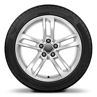 "18"" x 8.5J '5-double spoke' dynamic style, partly polished wheel with 245/40 R18 tyres"
