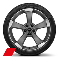 Audi Sport cast alloy wheels, 5-arm rotor style, Matte Titanium Look,diam.- turned, 8.5J x 19, model-specific tires