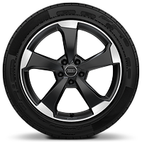 Audi Sport cast alloy wheels, 5-arm rotor style, Anthracite Black, 8J x 19 with 235/40 R19 tires