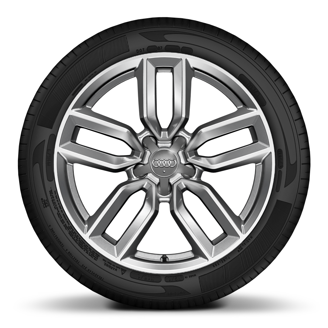 "18"" x 7.5J '5-twin-spoke star' design alloy wheels in contrast grey,diamond cut finish with 225/40 R18 tyres"