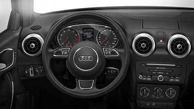 Leather-covered multifunction sports steering wheel, 3-spoke design