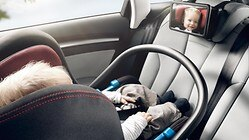 Audi baby mirror, for securing to the rear seat bench