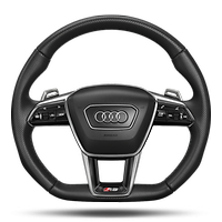 Sports contour leather-wrap.multi-func. Plus steering wheel, w/ steer. wh.heat. + shift paddles, 3-spoke, flat-bottomed