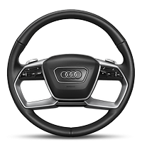 Leather-wrapped multi-function steering wheel, double spoke, with shift paddles and steering wheel heating