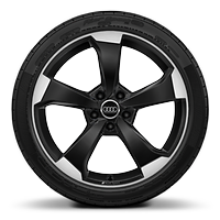 "19"" x 8.5J front and 19"" x 8.0J rear '5-arm-rotor' design alloy wheels in Gloss anthracite black, diamond cut finish with 255/30 R19 front tyres and 235/35 R19 rear tyres"