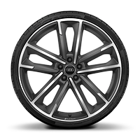 Audi Sport cast alloy wheels, 5-double- arm style, matte titanium look, diamond-turned, 8.5J x 21