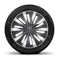 Cast alloy wheels, 10-arm Aero style, Contrast Grey, partly polished, 8J x 18 with 225/55 R18 tires