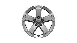 Cast aluminium winter wheel in 5-arm latus design, brilliant silver, 7 J x 17