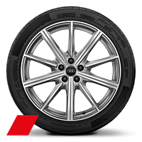 Audi Sport cast alloy wheels, 10-spoke star style, Platinum Look, diamond- turned, 8.5J x 20, 255/40 R20 tires