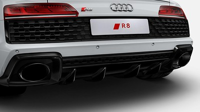 Dual-branch design with gloss black trapezoidal tailpipe trims