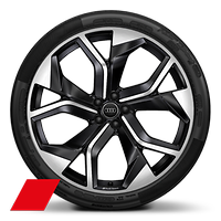 Cast alloy wheels, 5-Y-spoke rotor style, Black, diam.-turned, 10.5J x 23, 295/35 R23 tires