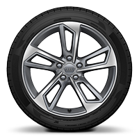 "18"" 8J '5-twin-spoke' design alloy wheels, diamond cut finish with 245/40 R18 tyres"