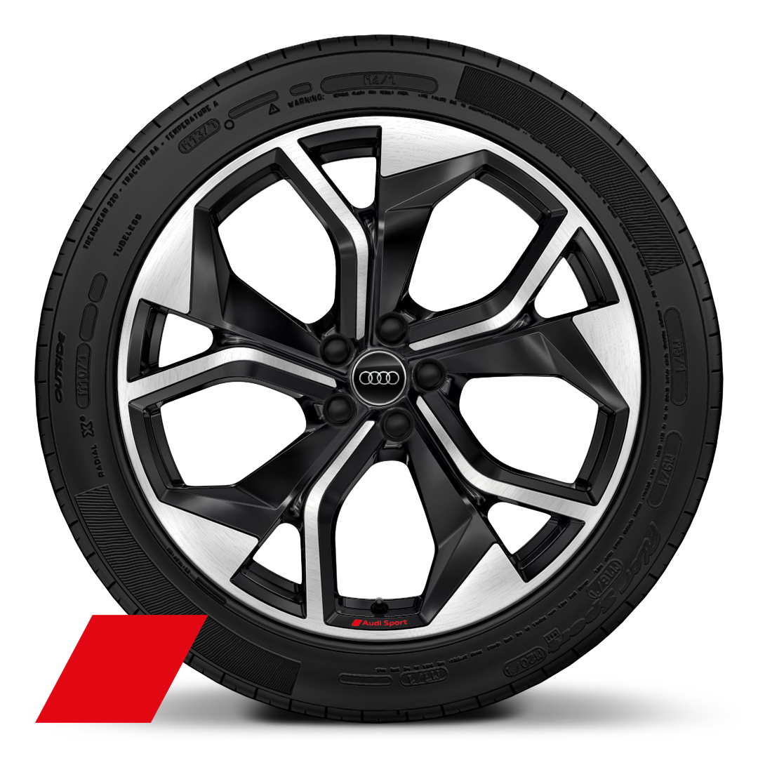 "21"" x 10.5J '5-Y-spoke rotor' gloss anthracite black diamond cut Audi Sport alloy wheels with  285/40 R 21 tyres"