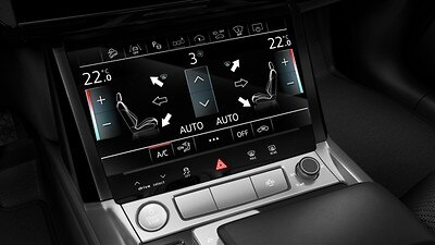Glossy Black operating buttons with haptic feedback and aluminum Look interior