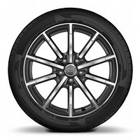 Audi Sport cast alloy wheels, 10-spoke style, Matte Titanium Look, diamond- turned, 7.5J x 18 with 225/40 R18 tires