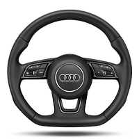 Sports contour leather-wrapped steering wheel with multi-function Plus, 3-spoke, flat-bottomed (Does not include heating function)