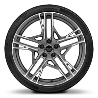 Alloy wheel 8.5J + 11J x 20, 5-double-spoke dynamic st., Matte Tit. Look, dia.-tur. w/ 245/30+305/30 R20 ti.