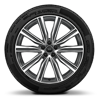 "21"" x 10.0J '5-V-spoke' design alloy wheels, in contrasting grey with gloss turned finish, with 285/45 R21 tyres"