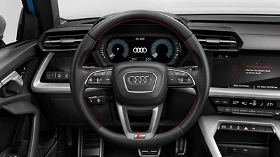 3-spoke leather multi-function steering wheel with gear-shift paddles for S tronic transmissions