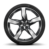 Audi Sport cast alloy wheels, 5-arm polygon style, Glossy Anthracite Black, 8.5J x 20 with 255/40 R20 tires