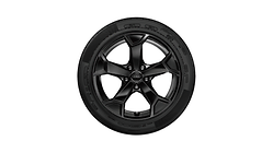 Complete winter wheel in 5-arm serra design, black-gloss finish, 6.5 J x 17, 215/65 R 17 99H
