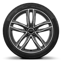 Audi Sport cast aluminium wheels in 5-twin-spoke design in matt titanium look, gloss turned finish<sup>1, 2</sup>