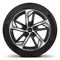 Audi Sport cast alloy wheels, 5-arm trapezoidal style, Black, diamond- turned, 7.5J x 18 with 225/40 R18 tires